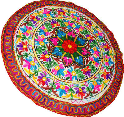 """Indian Bohemian Floral Embroidery Work Round Table Cloth Throw Home Decor 34"""""""