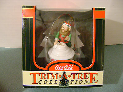 Coca Cola Trim-A-Tree Christmas Ornament Elf on Lampshade New Boxed 1998
