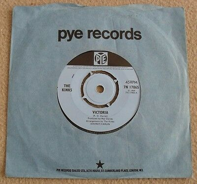 THE KINKS - VICTORIA vinyl single record 7N 17865 (mis-labelled) - EXC+