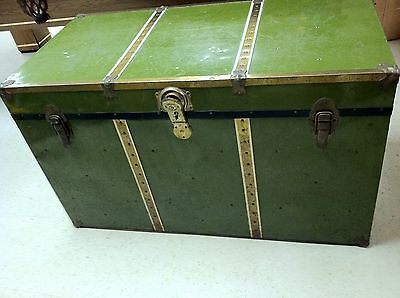VINTAGE STEAMER STORAGE METAL TRUNK w WOOD!