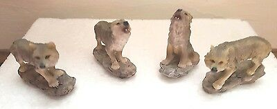Wolf Ornament, Set Of 4 Wolves Ornament/figurine, New