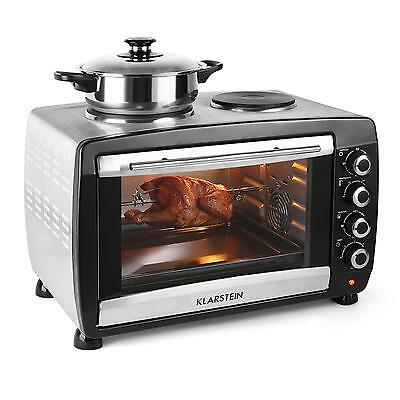 Klarstein Mini Convection Oven With Hob Hot Plates 2000W Stainless Steel Ovens