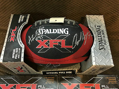 """XFL Game Football SIGNED by """"Las Vegas Outlaws"""" Rare WWE Spalding Official Size"""