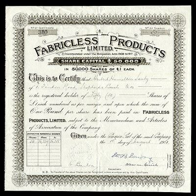 Fabricless Products Limited (1921)