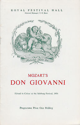 Royal Festival Hall 1954 Programme - Cesare Siepi Is Don Giovanni - Josef Krips