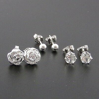 925 Sterling Silver Plated Set Of 3 Stud Earrings, Ball, Crystal, Rose.