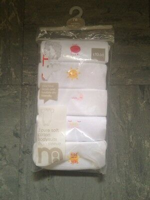 Mothercare Pack Of 5 Tiny Baby Bodysuits White