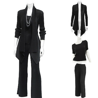Exquisite cardigan-like jaket sequined top wide leg pants set