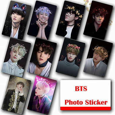10Pcs / Set Kpop Bts Bangtan Boys HD Lustre Photocard Crystal Card Sticker