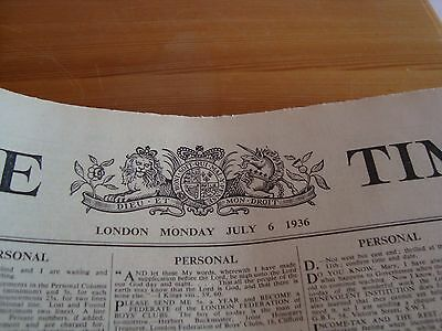 Genuine Newspaper   The Times  For July 6  1936