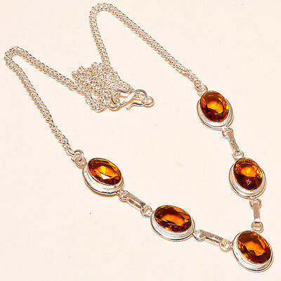 Faceted Brandy Topaz 925  Sterling Silver Necklace 17-18""