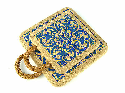 Square Certified Cork Hot Pot Pan Stands Trivets Mats  Rope Handle Tile Print