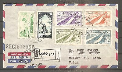 Lettre Lebanon Liban Beyrouth To Usa 1957 Registered By Airmail