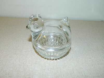 Vintage Anchor Hocking Clear Glass Small Covered Dish Basket Chicken Rooster Hen