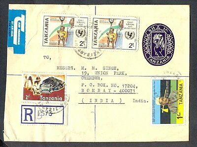 Tanzania Air Mail To India 31138 Cover Registered Multiple Stamps Postal Station