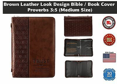 Medium Leather Look Bible Cover Book Case Organizer Side Pocket Cross Engraved