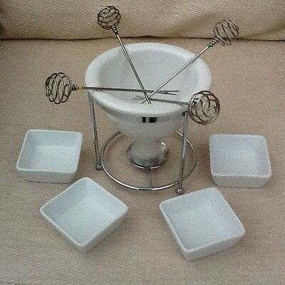 Porcelain Tealight Candle Fondue Set & Four Dipping Bowls and Forks
