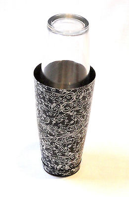 Boston Can with 16oz Glass set patterned - Black | Cocktail Shaker