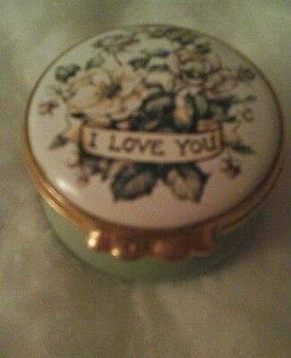 Kingsley Enamels worcester trinket box   I love you  Halcyon days type