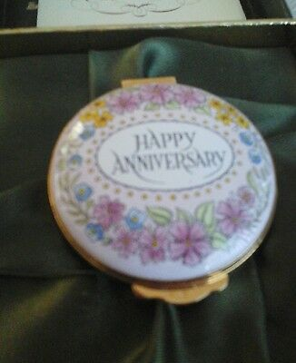 Crummles English enamels trinket box   Happy Anniversary.  Halcyon days type