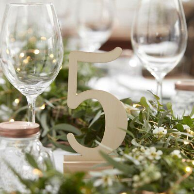 Ginger Ray Wooden Table Numbers 1-12 - BEAUTIFUL BONTANICS - Wedding / Party