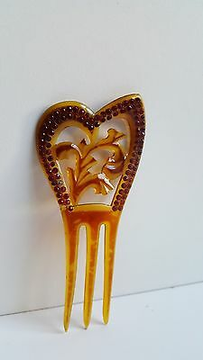 Vintage 1920's Hair Comb Amber Celluloid Red Rhinestones