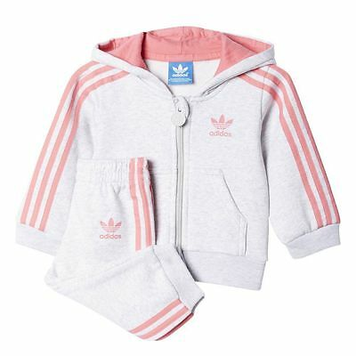 adidas Originals girls grey 3 stripe infant tracksuit. Jogging suit. 18M - 4Y