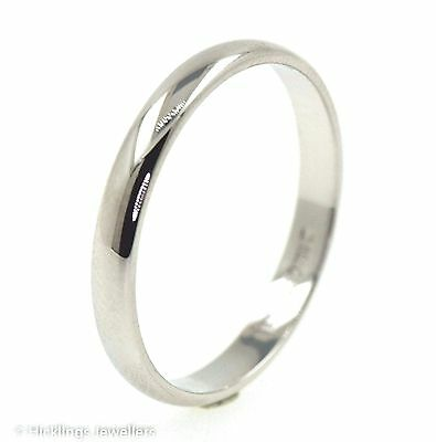 18 CT White Gold Wedding Band Ring - Size O - 2.5mm (00446)