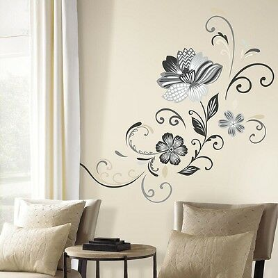 Elegant Flower Scroll Peel and Stick Wall Decal, Home Decor