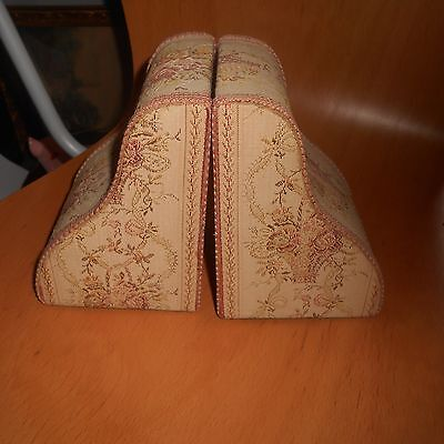 pair of fabric covered bookends, fabric faded