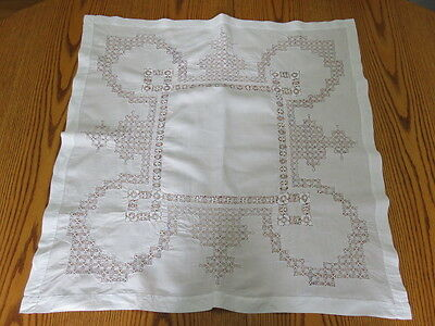 "Tablecloth/table Topper - Cutwork - Off White - 30"" By 30"""