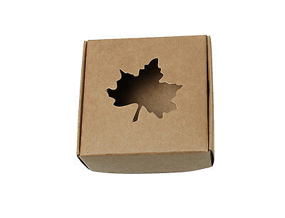 """10 Kraft Gift Boxes - Light Brown Maple Leaf Pattern folding jewelry boxes 3"""""""