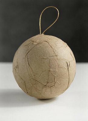 Paper Mache Wrinked Ball Ornament 80mm - Pack of 12