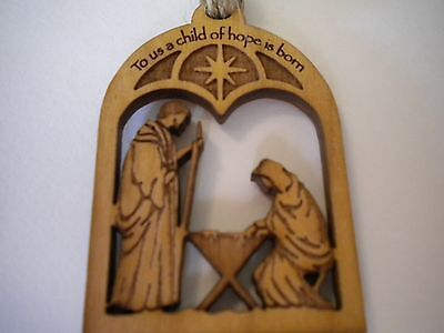 Nativity Wood Christmas Mini Ornament Mary Joseph Manger A Child of Hope is Born