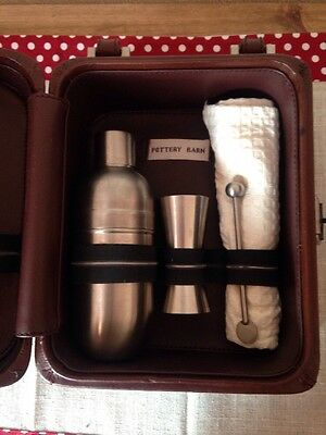 Pottery Barn Leather Case 4 Pieces Drink Set