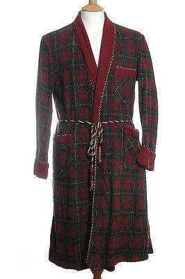 Vintage 1950's Mcgregor Check Wool Dressing Gown House Robe M