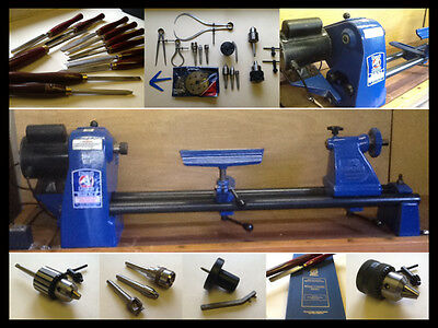 RECORD POWER CORONET No.0 WOOD TURNING LATHE 11 CHISELS &  QUALITY ACCESSORIES