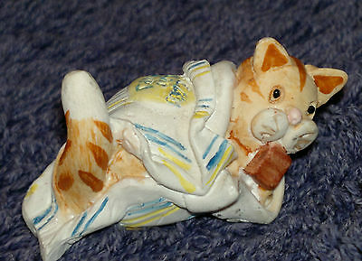 "Peter Fagan Colour Box Ginger Tabby Cat wrapped in blanket ""Bag Puss"" 2x4cm"