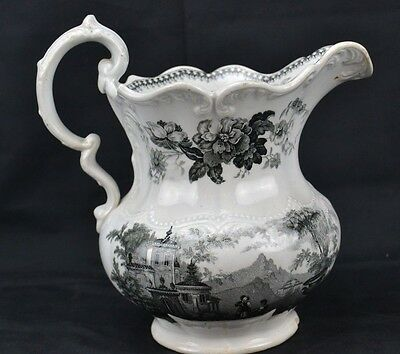 Antique Unmarked Transferware Staffordshire Pitcher Black Milberry Chip on Edge