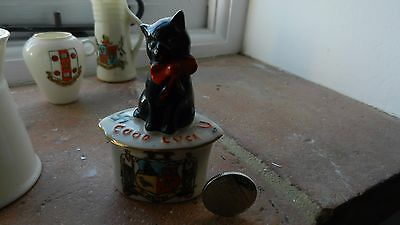 Carlton Crested China Black Cat Good Luck Maltby