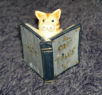 "Peter Fagan Colour Box ""The Critic"" Ginger Cat reading book ""Cat Tales"" 2.5x3cm"