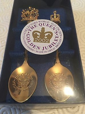 Golden Jubilee 22 ct. Gold Plated Set of Two Spoons Queen Elizabeth II 2002