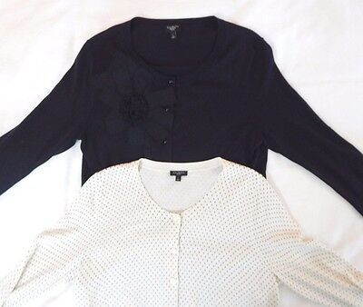 womens LOT OF 2 TALBOTS cardigan sweater cotton lightweight classic petite PL