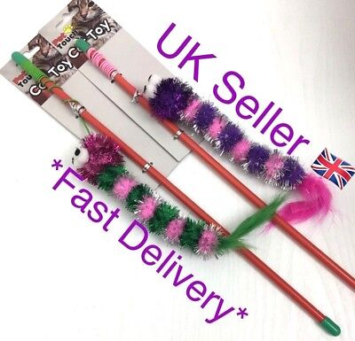 Pet Touch Cat Teaser Long Exciting Toy Fun Play 2 Types To Choose From 41 cm UK