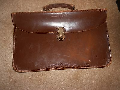 Lovely old brown leather music case / bag