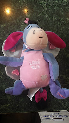"Eeyore Disney 6"" Love Bug Beanie Valentines Day Plush Winnie Pooh Stuffed Animal"