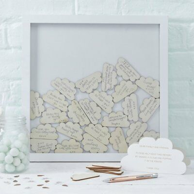Ginger Ray Baby Shower Cloud Drop Top Frame Alternative Guest Book - Hello World