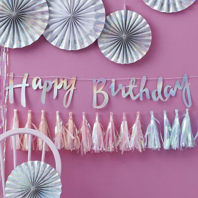 Iridescent Silver Script Happy Birthday Bunting Banner 1.5M - Party Decoration