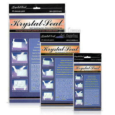 Pack of 25 Krystal Seal resealable art + photo bags, choice of size A6, A5, A4