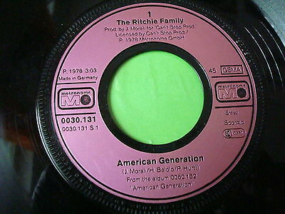 """7"" The Ritchie Family American Generation - Music Man"